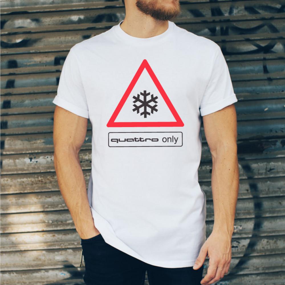 Quattro only | pánske tričko - biele