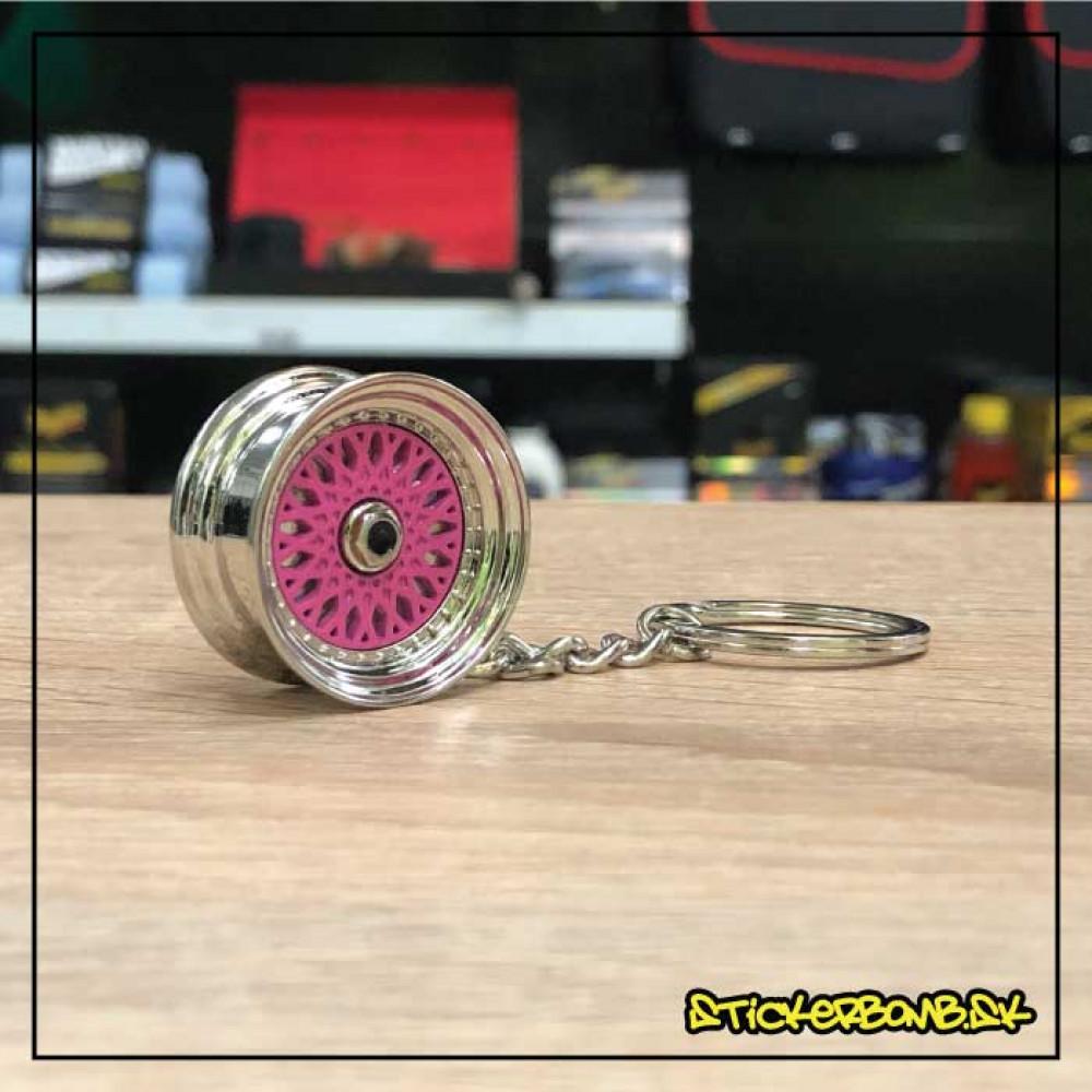 Prívesok na kľúče - Liate koleso BBS ružové